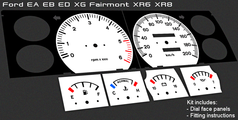 Details about  /Plastic WHITE DIALS for Ford Falcon AU FPV XR6 XR8 gauge speedo dial cluster