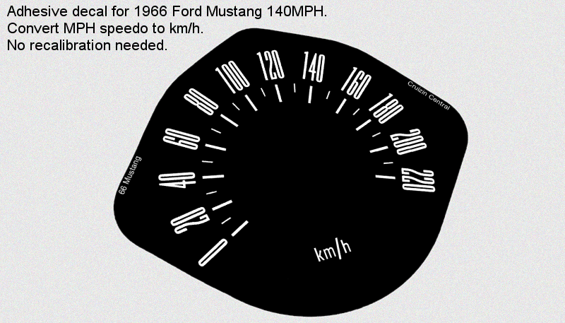 Plastic WHITE DECALS for Ford Mustang 1966 KMH MPH gauge speedo sticker decal